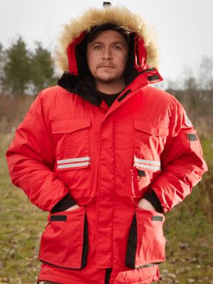 Parkas Polar i Äkta Dun, Röd