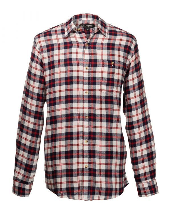 Flanellskjorta, vit/röd